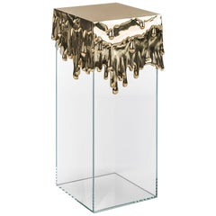 Modern Candle Pedestal in Polished Brass and Glass Base, Melted Metal Art Table