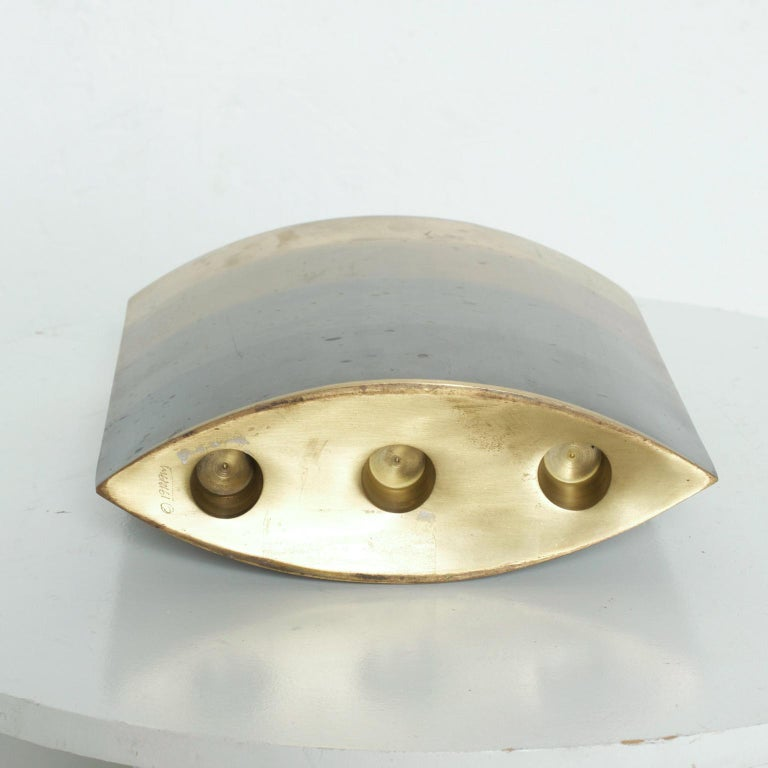 Modern Brass Candle Holder, Vase, Sculptural Bronze, by Michael Aram For Sale 5