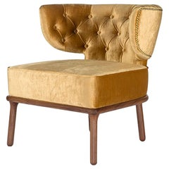 Modern Capi Armchair in Velvet Capitoné Upholstery and Solid Walnut Wood Foot