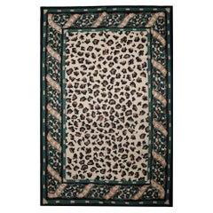 Modern Carpet Handmade Needlepoint Rug, Green Leopard Print Area Rug