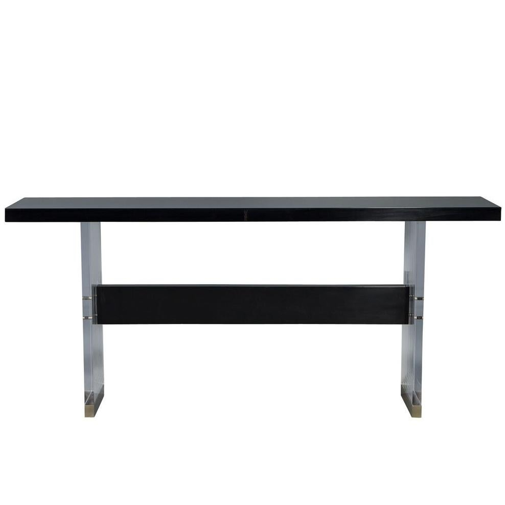 Modern Carrocel Custom Acrylic, Black Lacquer and Walnut Console