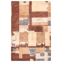 Modern Cartagena Design Cubist Brown and Beige Wool Rug