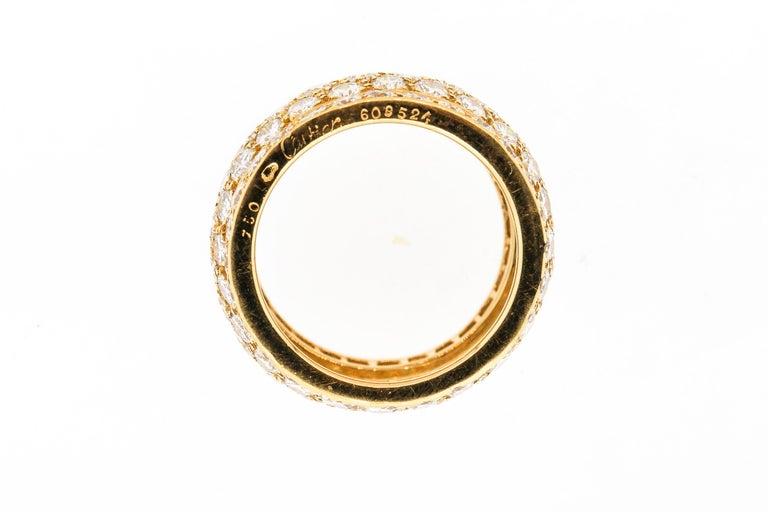 Round Cut Modern Cartier Wide Diamond 18 Karat Yellow Gold Five-Row Ring For Sale