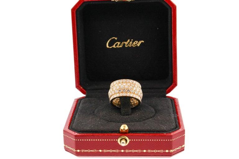 Women's or Men's Modern Cartier Wide Diamond 18 Karat Yellow Gold Five-Row Ring For Sale