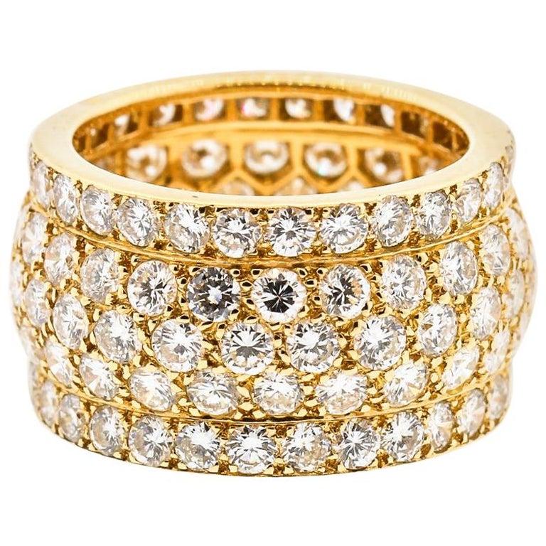 Modern Cartier Wide Diamond 18 Karat Yellow Gold Five-Row Ring For Sale