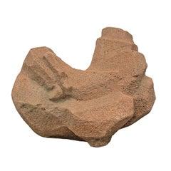 Modern Carved Stone Chicken Sculpture