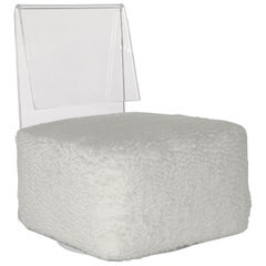 Modern Casper Swivel Chair in Lucite with White Double Weave Alpaca Boucle
