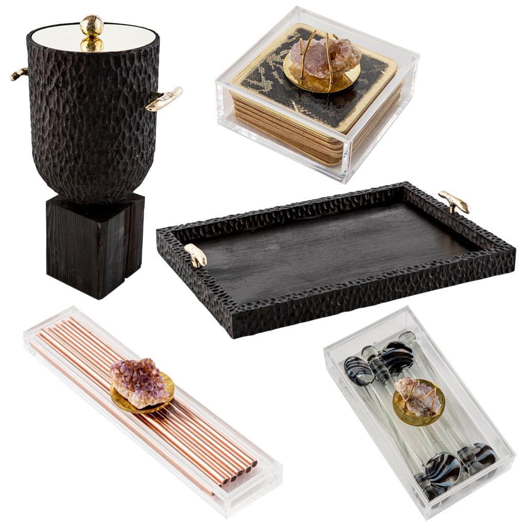 Modern Cast Brass, Chiseled Timber and Resin Dawa Cocktail Bar Set
