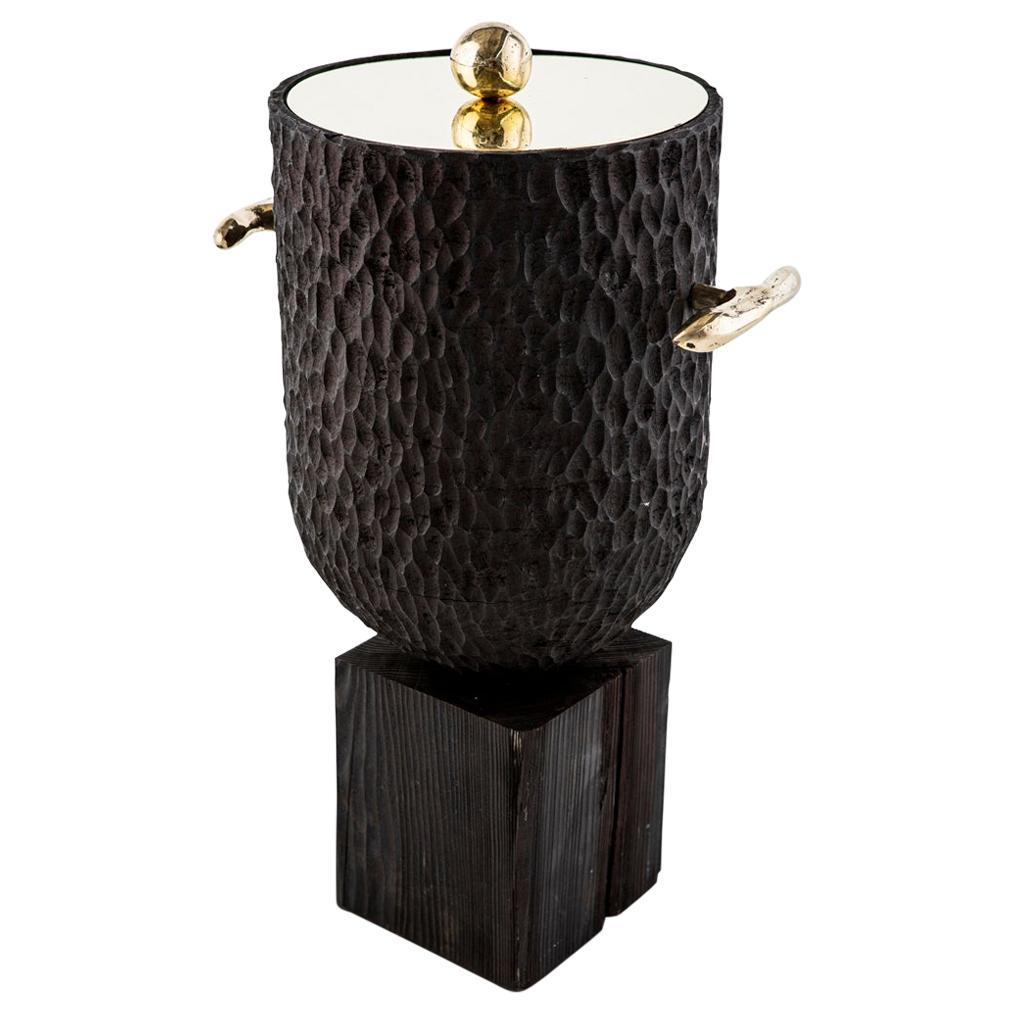 Modern Cast Brass, Chiseled Timber and Resin Dawa Ice Bucket