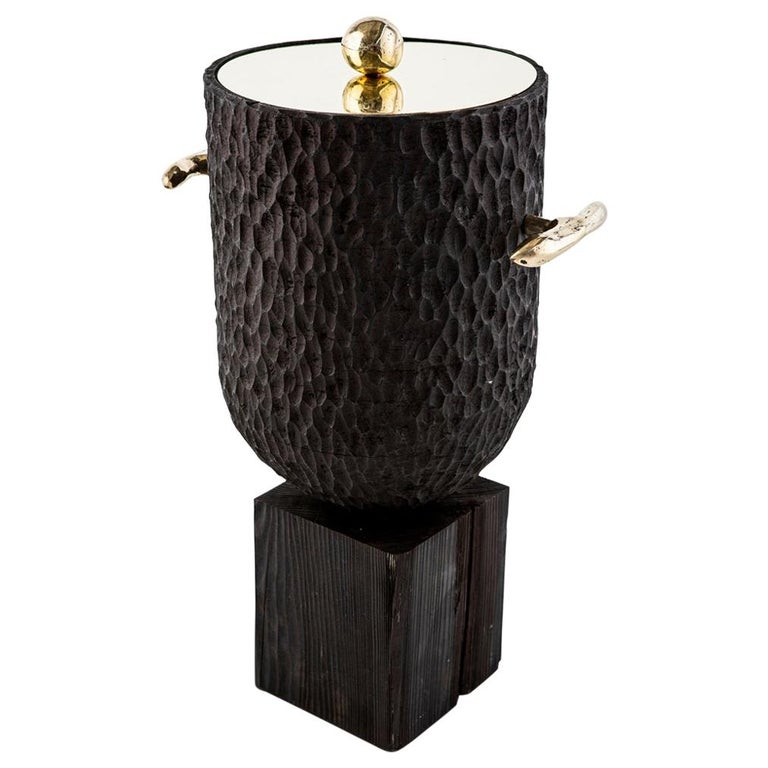 Modern Cast Brass, Chiseled Timber and Resin Dawa Ice Bucket  For Sale