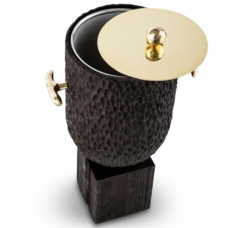 South African Modern Cast Brass, Chiseled Timber and Resin Dawa Ice Bucket  For Sale