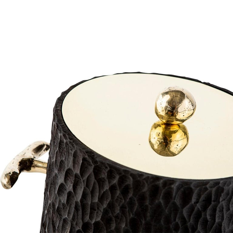 Contemporary Modern Cast Brass, Chiseled Timber and Resin Dawa Ice Bucket  For Sale