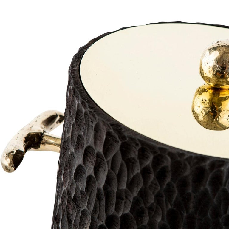 Modern Cast Brass, Chiseled Timber and Resin Dawa Ice Bucket  For Sale 1