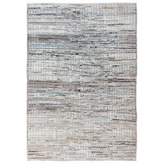 Modern Casual Rug with Hi-Low Design in Cream, White, Brown and Ice Blue