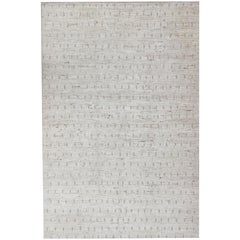 Modern Casual Rug with Hi-Low Pile in White and Taupe