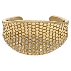 "Modern ""Caviar"" Tapered Cuff Bracelet with 1.82 Carat Diamond in Yellow Gold"