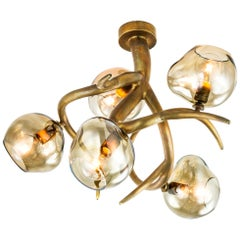 Modern Ceiling Chandelier with Colored Glass in a Brass Burnished Finish, Ersa