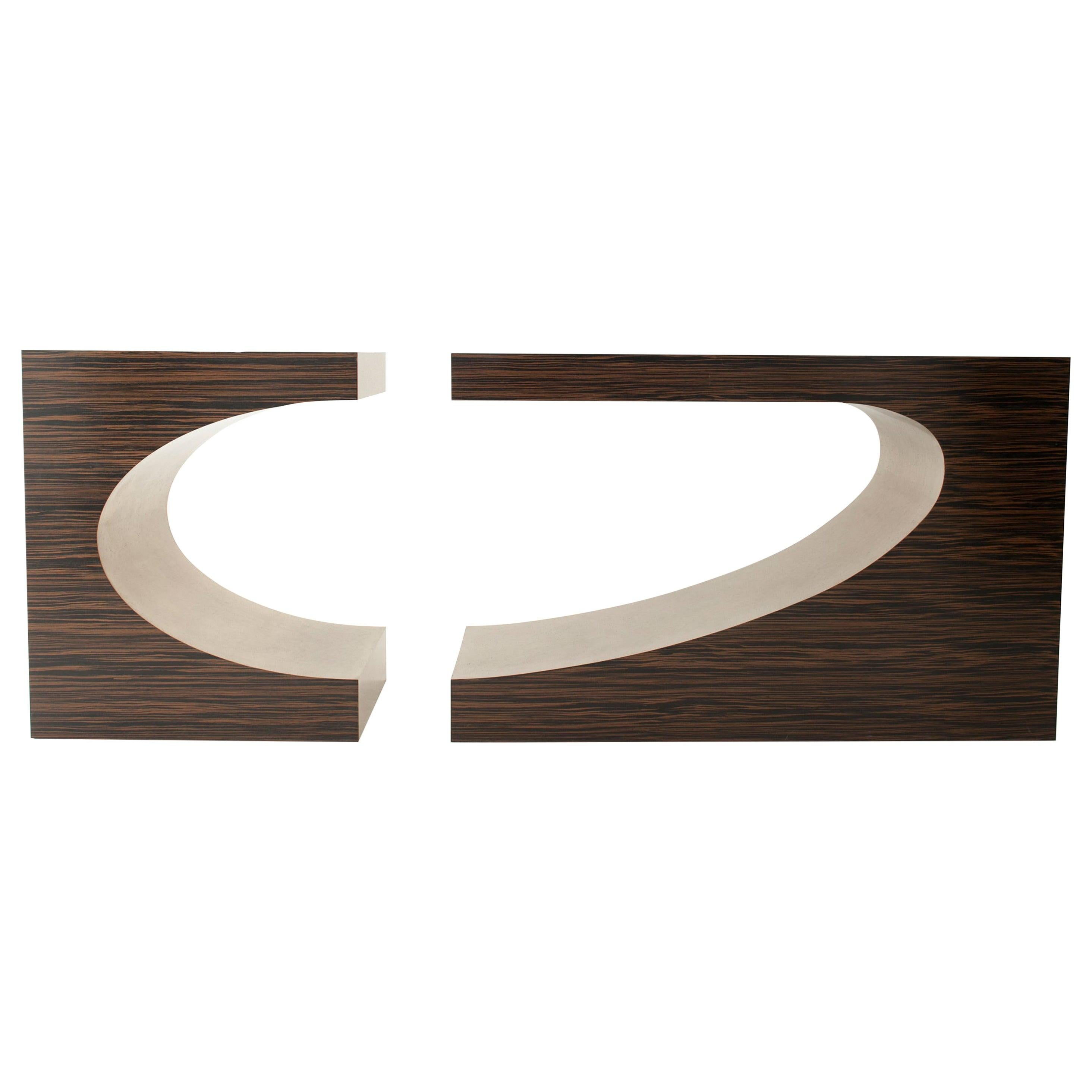 """Modern Central Piece Wood and Brass Bar Console Dessert Table """"FACE A FACE"""""""