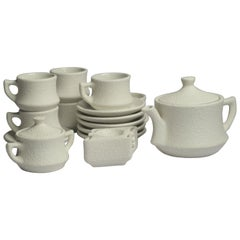 Modern Ceramic Coffee/Tea Set in Sand Textured Stucco Finish
