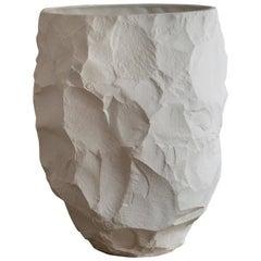 Modern Ceramic Oversized Vase with Open Top in White, Big Vase 1