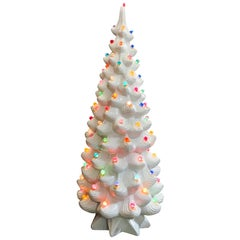 Modern Ceramic White Christmas Tree Lamp, Atlantic Mold Monumental Holiday Decor