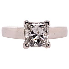 Modern Certified 1.21 Carat Natural Princess I Diamond Platinum Engagement Ring