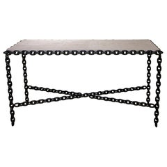 Modern Chain Form Side Table with Cerused Oak Top
