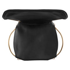 Modern Chair, Brass Steel and Black Leather, HUG Collection