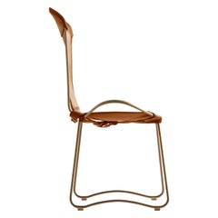 Modern Chair, Brass Steel and  Natural Tobacco Leather, HUG Collection