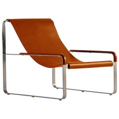 Modern Chaise Lounge and Footstool Old Silver Steel and Tobacco Leather
