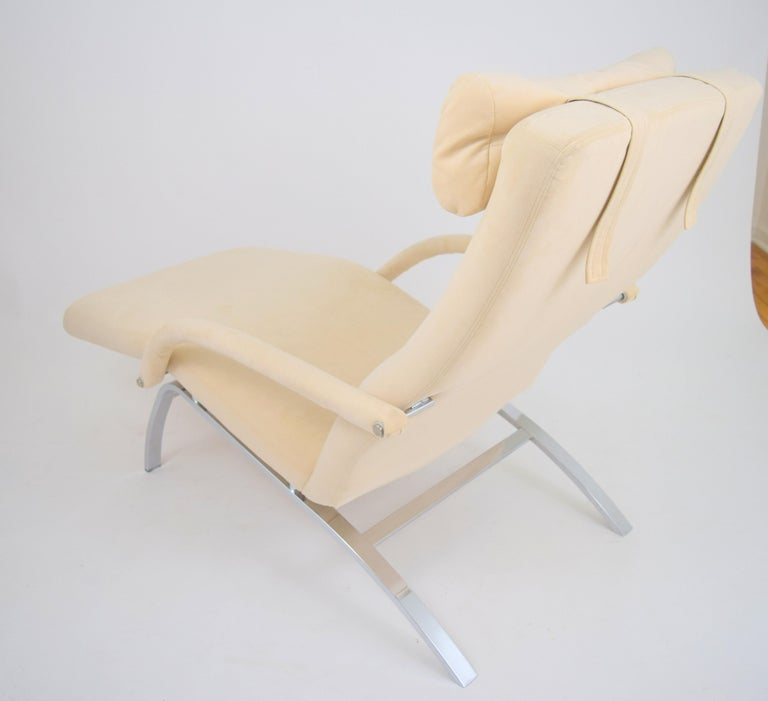 American Modern Chaise Lounge in Microfiber and Chrome by Design Institute of America For Sale