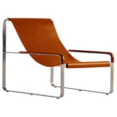 Modern Chaise Lounge in Silver Steel and Tobacco Leather, Wanderlust Collection