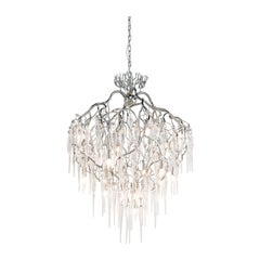 Modern Chandelier Conical in a Nickel Finish with Mouthblown Glass Icicles