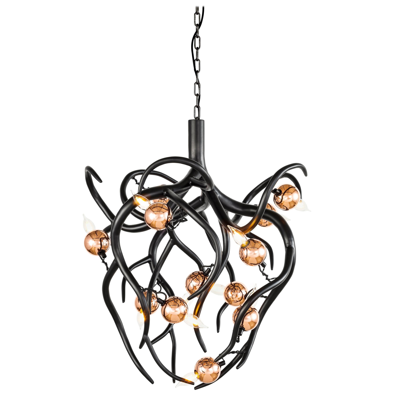 Modern Chandelier in a Black Matt Finish, Eve Collection, by Brand Van Egmond