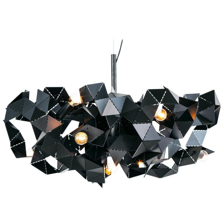 Modern Chandelier in a Black Matt Finish, Fractal Collection, by Brand Van For Sale