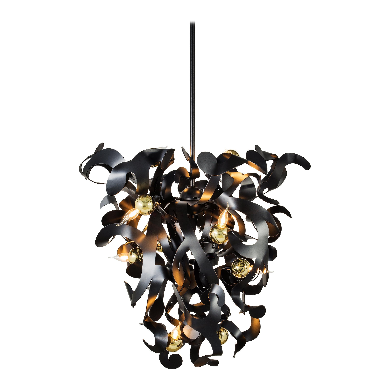 Modern Chandelier in a Black Matt Finish, Kelp Collection, by Brand van Egmond