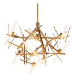 Modern Chandelier in Brass Burnished, Linea Collection by Brand van Egmond