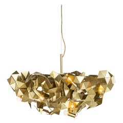 Modern Chandelier in a Brass Grinded Finish, Fractal Collection, by Brand Van