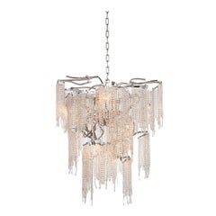 Modern Chandelier in a Conical Shape and in a Nickel Finish with Crystals