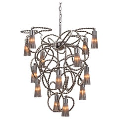 Modern Chandelier in a Conical Shape in a Nickel Finish, Sultans of Swing