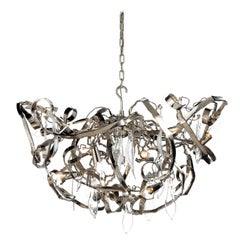 Modern Chandelier in a Nickel Finish, Delphinium Collection, by Brand Van