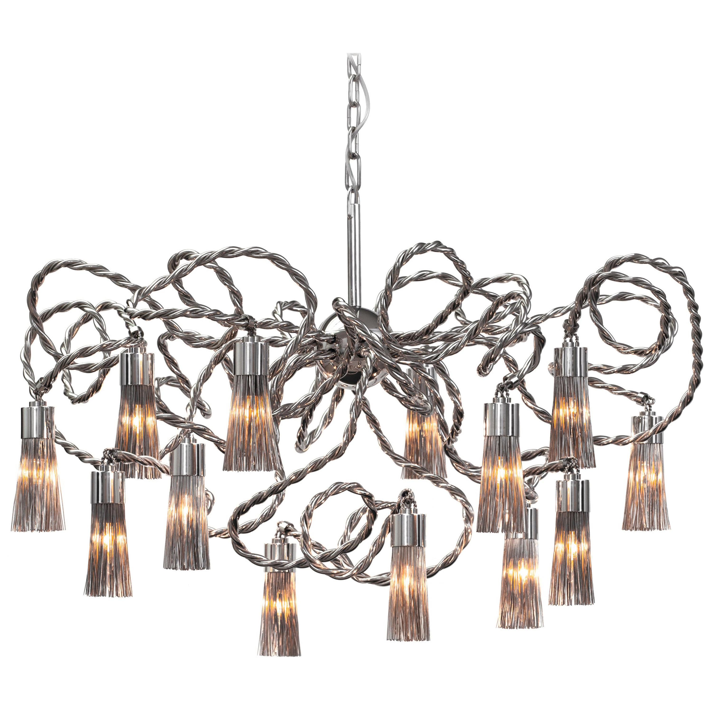 Modern Chandelier in a Nickel Finish, Sultans of Swing Collection, by Brand