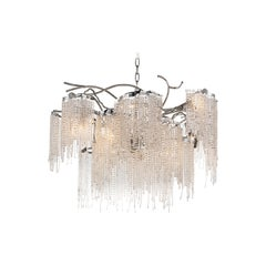 Modern Chandelier in a Nickel Finish with Crystals, Victoria Collection