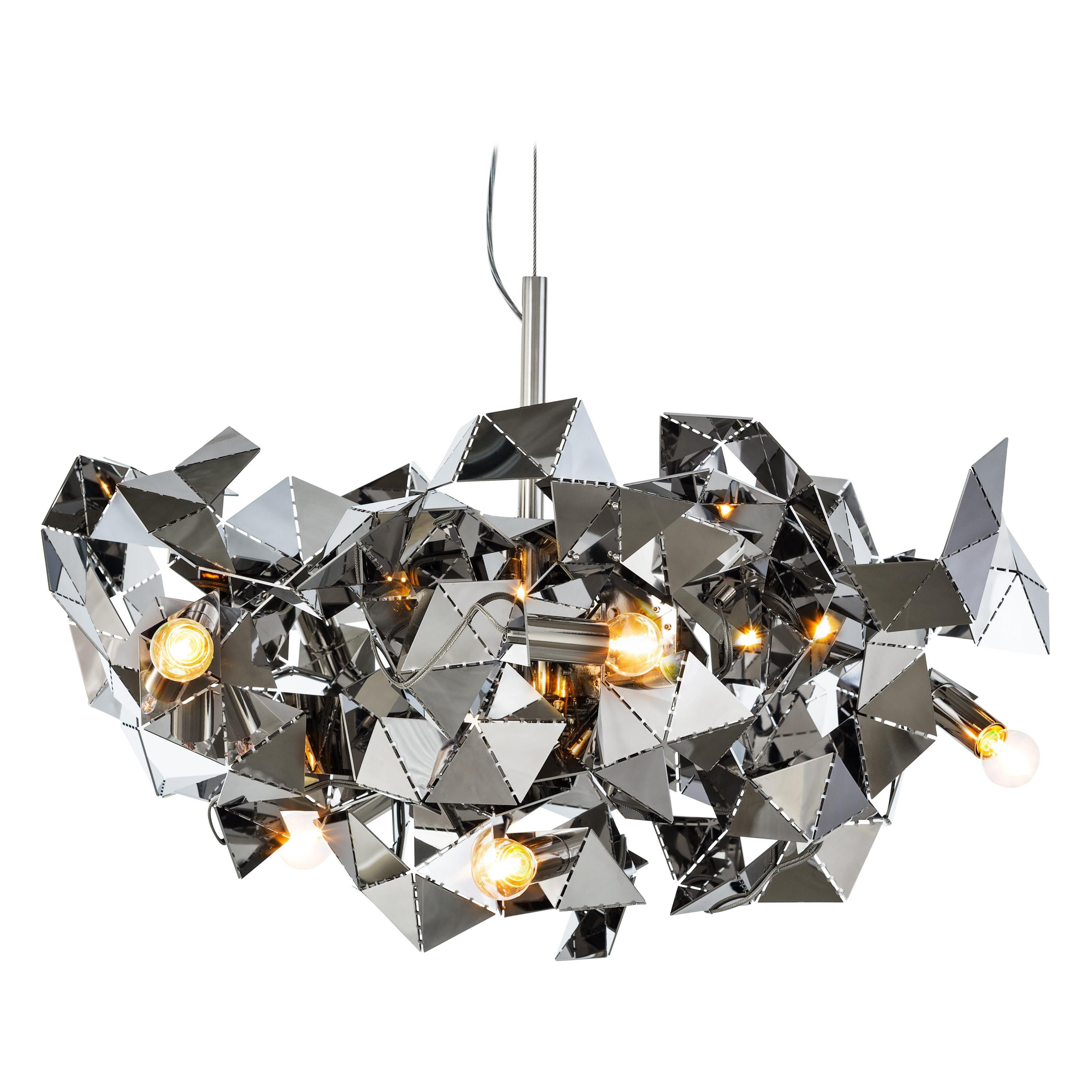 Modern Chandelier in a Stainless Steel Finish - Fractal Collection, by Brand Van