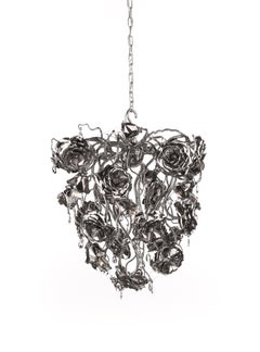 Modern Chandelier in an Conical Shape and in a Nickel Finish, Love You Love