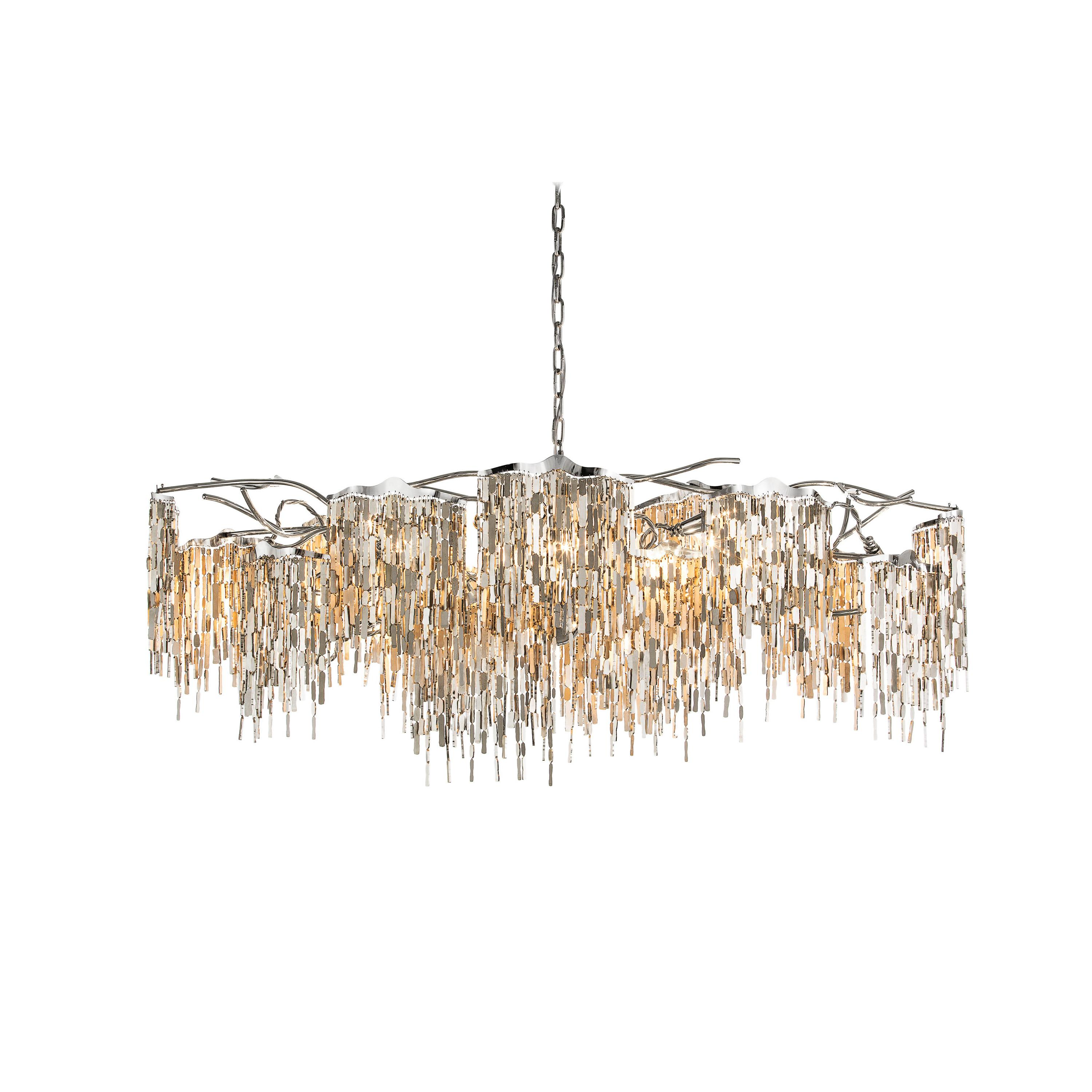 Modern Chandelier in an Oval Shape and in a Nickel Finish, Arthur Collection