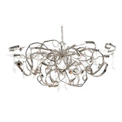 Modern Chandelier in an Oval Shape and in a Nickel Finish, Delphinium