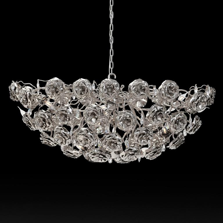 Modern Chandelier in an Oval Shape and in a Nickel Finish, Love You Love You N