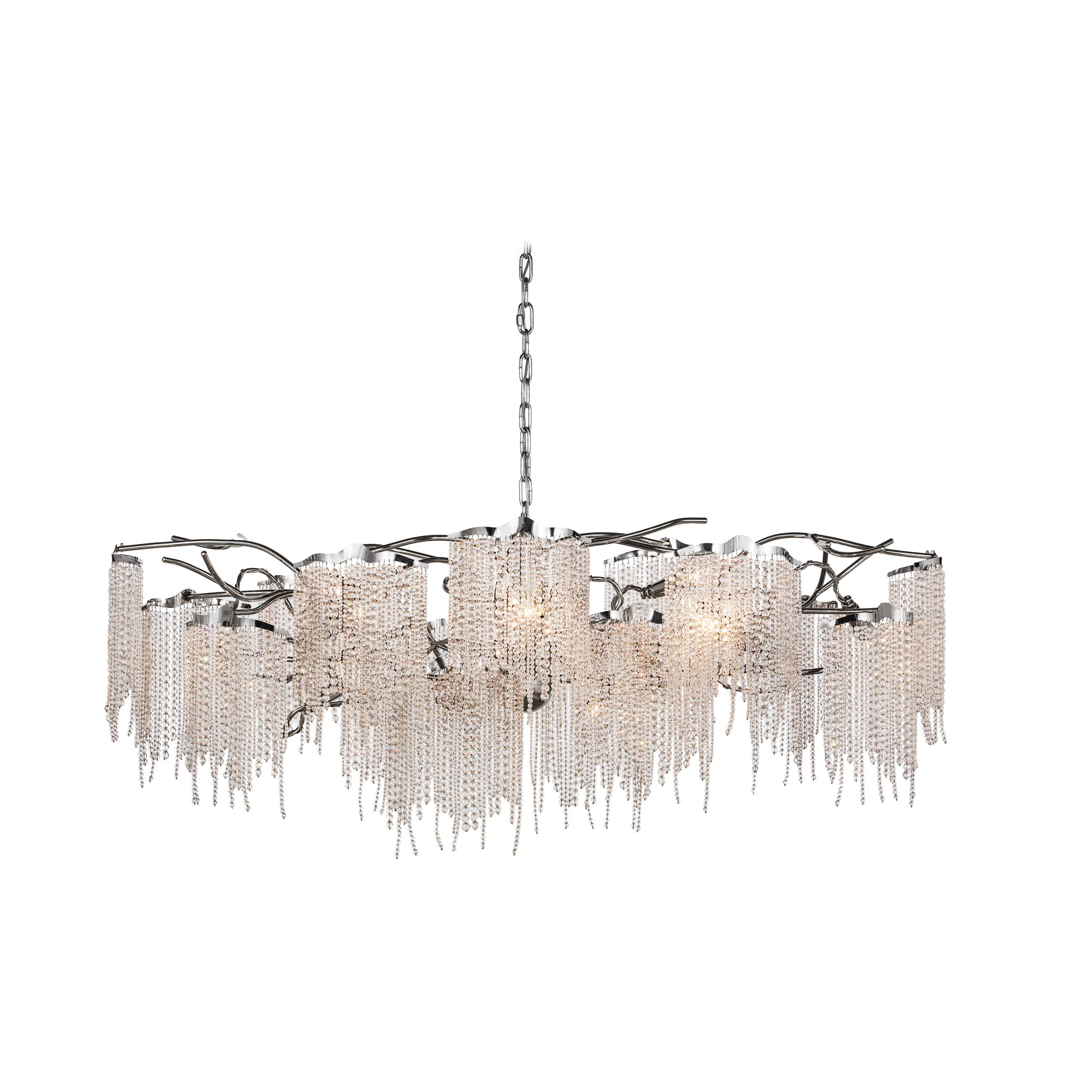 Modern Chandelier in an Oval Shape and in a Nickel Finish with Crystals