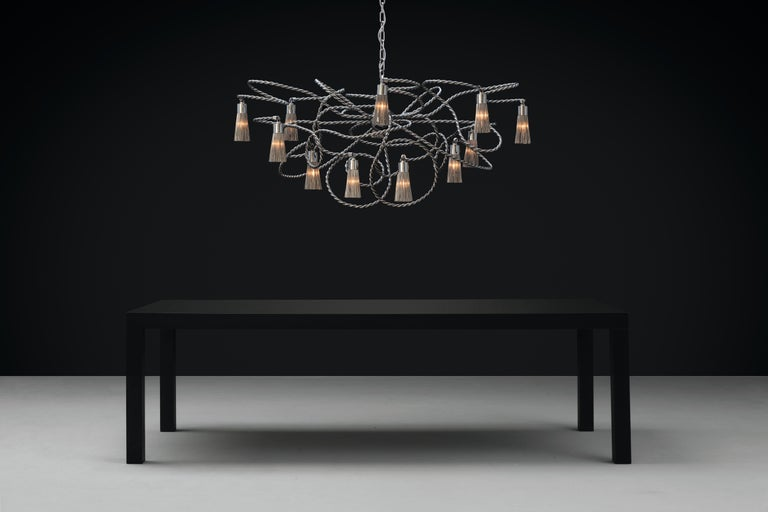 Hand-Crafted Modern Chandelier in an Oval Shape in a Nickel Finish, Sultans of Swing For Sale